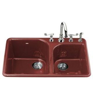 Kohler K 5932 4 R1 Self Rimming Kitchen Sink Red