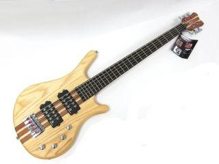 New Kona Pro Quality 5 String Electric Bass Guitar Natural thru Neck