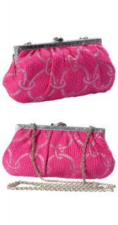 Kotur Fuschia Pink Silver Metallic Brocade Weave Clutch Handbag Purse