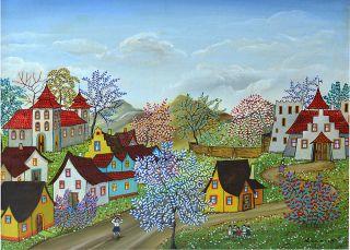 Kowalski Hungarian Oil on Canvas Painting Farm Village Vivid Color
