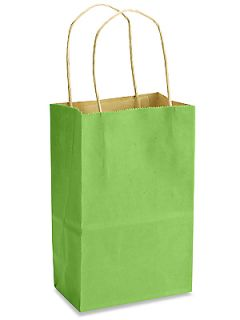 10 Lime Small Kraft Paper Gift Handle Bags 5 1 4 x 3 1 2 x 8 1 4