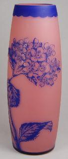 RARE Antique Harrach Art Glass Bohemian Blue to Pink Signed Cameo