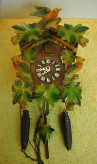 Vtg German 1 Day Cuckoo Clock Henry Coehler Black Forest Weighted