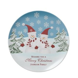 Snowman Personalized Family Christmas Plate