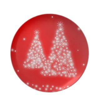 Red Melamine Christmas Plates Lighted Trees