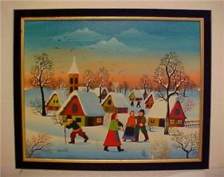 Painting on Canvas Folk Art Village Landscape Polish Artist Kowalski