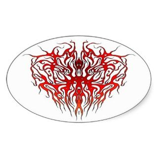 Tribal Tattoo Valentine Heart Oval Sticker