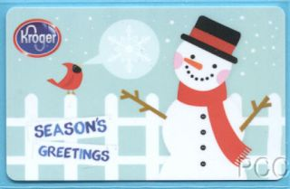 Kroger Seasons Greetings Snowman 2011 Gift Card