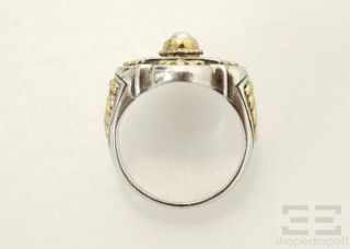 Konstantino Sterling Silver 18K Yellow Gold Pearl Ring Size 7