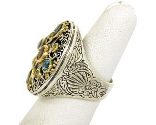 KONSTANTINO STERLING SILVER, 18K GOLD & GEMS LADIES ORNATE DRESS RING