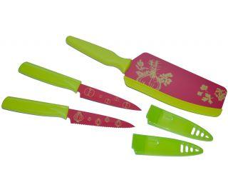 Kuhn Rikon 3 Piece Herb Vegetable Fruit Knife Set Flexi Spatula Knife