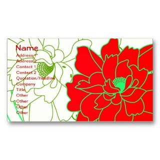 Cute Red White Retro Floral Business Card Template
