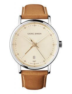 Jensen Mens Dual Time Watch 519 Champagne Colour Dial Koppel