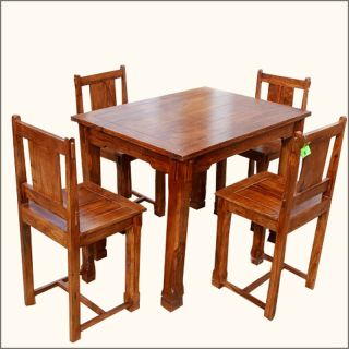 Solid Wood Counter Height 5pc PUB DINING Room Table & Chair Set