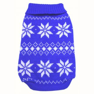 886 XS XL Blue Snowflakes Sweater Coat Dog Clothes
