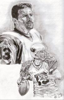 Kurt Warner of Arizona Cardinals Sketch Art Drawing Poster