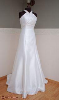 Amour White Faille Satin Halter Wedding Dress 2