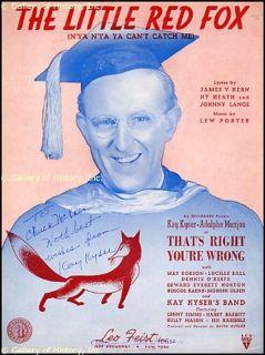 Kay Kyser Inscribed Sheet Music Signed Circa 1939
