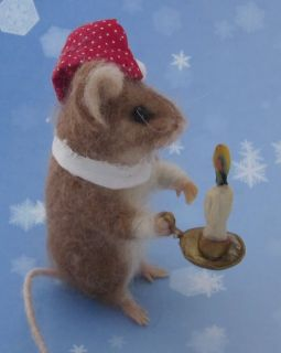 Original Needle Felted Christmas Kris Mouse by Artist Robin Joy