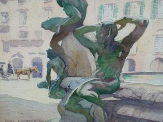John Lavalle Watercolor Florence Fountain Italy Listed American 1952