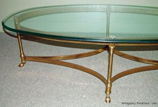 5856 Labarge Hollywood Regency Brass Glass Cocktail Coffee Table