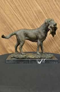 Labrador Retriever Bird Hunting Dog Bronze Marble Sculpture Trials