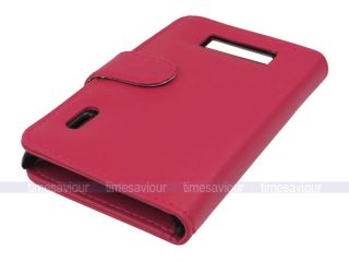 Pink Leather Case Wallet for LG Optimus L7 P700 Inner Card Slot