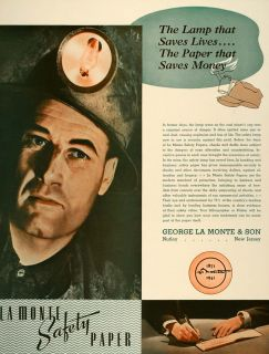 1941 Ad George La Monte Safety Papers Coal Miner Lamp   ORIGINAL