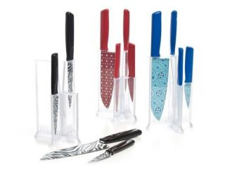 Kuhn Rikon K34693 4 Piece Red Polka Dot Nonstick Knife Set + Display