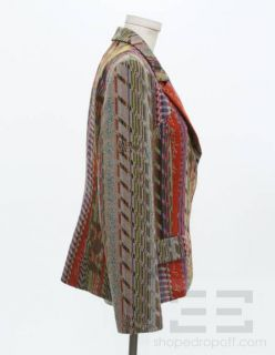 Christian Lacroix Bazar Red Wool & Multicolor Tribal Print Jacket Size