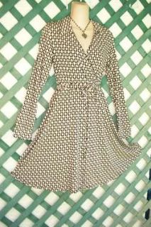La Belle Earthy Dot Surplice Dress L Career Wedding Church Party