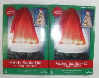 Kurt s Alder Fabric Santa Christmas Hat Tree Toppers Indoor Outdoor