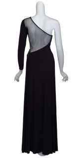 Kurt Thomas Seductive Black Knit One Sleeve Rhinestone Evening Gown
