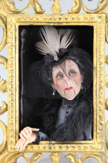 Lady in Grey OOAK Halloween Fantasy Art Doll Wall Sculpture by Tanya