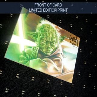 Star Wars Yoda with Lightsaber Lep Sketch Card by Jeff Lafferty