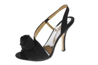 Badgley Mischka New Lanah Black Rosette Heels Slingback Sandals Shoes