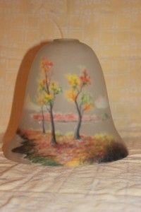 Lovely Large Reverse Painted Glass Bell Shade Autumn Scene Art Nouveau