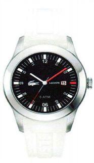 New Lacoste 2010629 Black Dial White Strap Mens Watch in Original Box