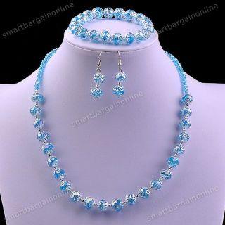 Set Lake Blue Crystal Glass Beads Cap Necklace Bracelet Women Earrings