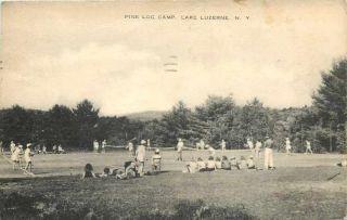 Lake Luzerne New York Pine Log Camp Tennis Court Matches Sepia Artvue