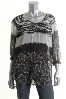 Daniel Rainn New Black Sheer Drop Waist DIP Dyed Lined 3 4 Sleeves Top