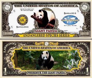 Endangered Panda Dollar Bills 2 $1 00