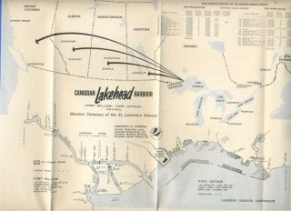 Lakehead Harbour Brochure Map Port Arthur Fort William Ontario Canada