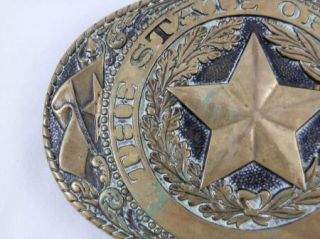 Tony Lama Solid Brass State of Texas Belt Buckle