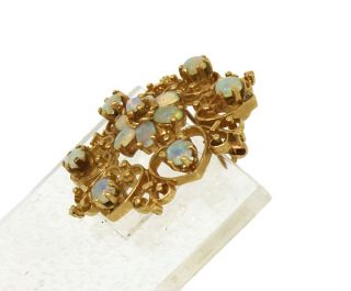 Vintage 14k Gold Fiery Opals Ladies Ornate Pin Brooch