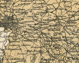 Lanark County Scotland Detailed 1889 Map showing Towns; Cities