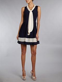 Atelier 61 Contrast colour chiffon dress Navy