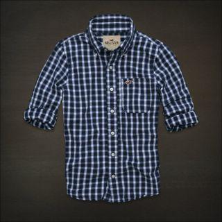 Hollister Navy Blue Plaid Laguna Niguel Button Up Front Dress Shirt