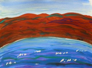 Original Landscape Naive Self Taught Folk Outsider MCW Art Mary Carol