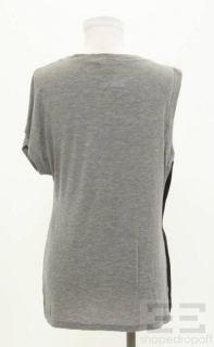 Laila Azhar Heather Gray Black Silk Trim One Sleeve Top Size XS New